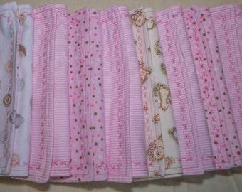 Baby Burp Cloths, Baby Girl Cloths, Pink Cloths, Burp Rags