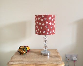 Rusty leaves lampshade with gold lining, perfect for a lounge, library, bedroom, conservatory. Great housewarming gift