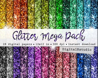"Glitter Digital Paper Pack 12"" x 12"" INSTANT DOWNLOAD Printable Sparkle Digital Scrapbook Wrapping Tinsel Paper Commercial & Personal Use"