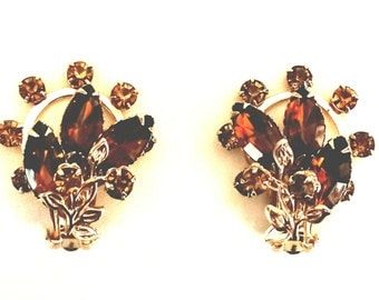 Vintage Amber Color Clip-On Earrings