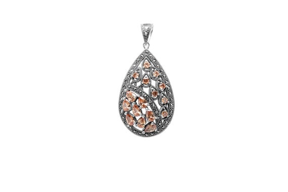 925 Sterling Silver Marcasite Pendant