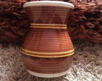 Vintage Brown and Yellow Striped Dragon Pottery Rhayader Welsh Pottery Vase