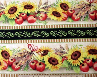Autumn/ fall/ Thanksgiving Fabric Sunshine Orchard Sunflowers Apple Corn Stripe Fabric From Wilmington
