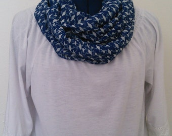 Blue and White Birds - Infinity Scarf