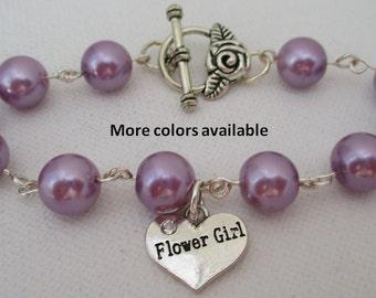 Flower Girl Pearl & Charm Bracelet-Flower girl gift-Flower Girl jewelry-Flower Girl bracelets-Bridal party gift-Wedding party gift, B252