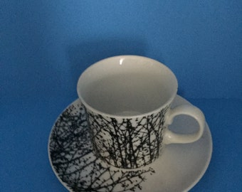 Birches; Vera for Mikasa; Coffee Cup and Saucer; 6 Sets Available; Discontinued Pattern; Very Collectible Pattern