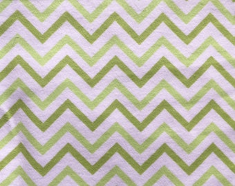 Lime Green Chevron Flannel Fabric -- Green and White Chevron