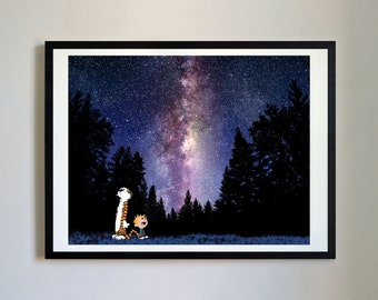 Calvin and Hobbes #102 - Night Sky - Nursery Art Print, Decor, Poster, Picture, Childrens Art, Kids Room, Space