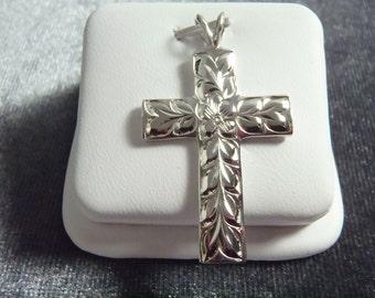 Sterling Silver Plumeria Cross Pendant RP13