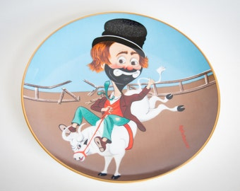Red Skelton - Bronco Freddie - 1982 VINTAGE collector plate - signed and numbered limited edition - Armstrong's