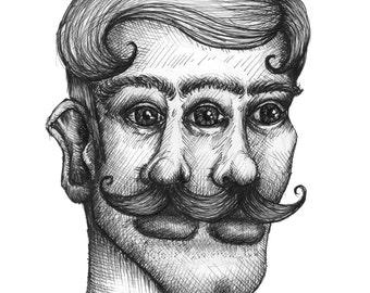 A4 '3 Eyes' Illustrative Print