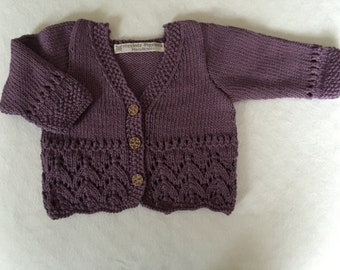 Baby girl's hand knitted cotton cardigan, ( 3 - 6 months).
