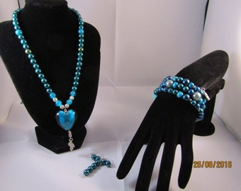 Blue bead set with Lampwork heart