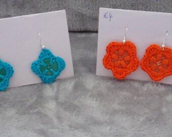 Crochet Button Earrings