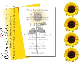 "Wedding Invitation, Sunflowers, Fall, Template, Enclosure Cards, Customized Printable Digital, Reception, RSVP, ""Simply Sunflowers"""
