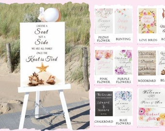 PRINTED Wedding Welcome Sign Customize the names of Bride & Groom Date Ready To Use Reception ceremony engagement Sign LARGE Floral Elegant