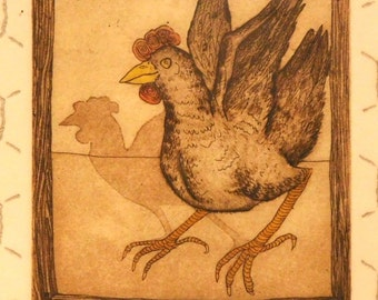 """Etching by L Davenport--""""Chickens in a Coop"""" 1977"""