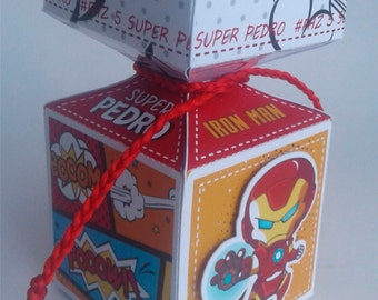 6 Iron Man - Avengers Custom Party Box - Party Supplies - birthday, wedding, baby shower