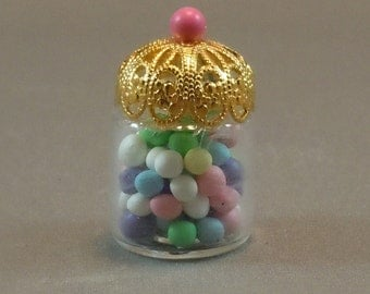 Dollhouse Miniature Jar of Gumballs in dollhouse scale of 1:12; twelfth scale.  Item #188.
