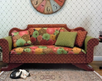 Dollhouse Miniature furniture in twelfth scale or 1:12 scale.  Upholstered sofa/settee/couch.  Item #272.