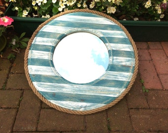 Reclaimed handcrafted nortical mirror