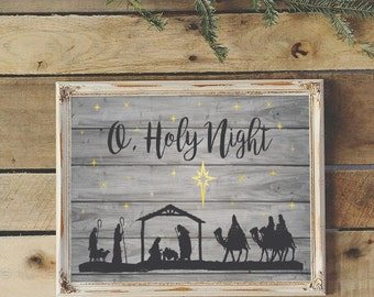 """Printable Nativity Scene on Rustic Wood with """"O, Holy Night"""" 11 X 17 Image"""