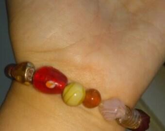 Orange and Red Toned Glass Beaded Bracelet