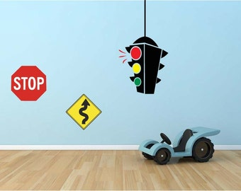 Street Signs vinyl wall decal stop sign traffic light decal