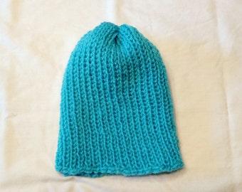 Blue hand knit beanie
