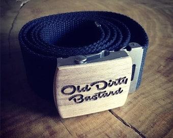 Belt with customized laser engraved belt buckle
