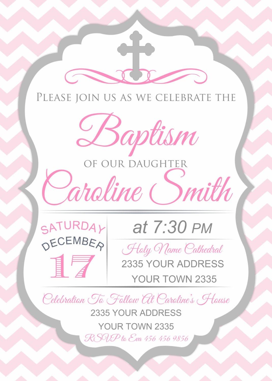 Baptism Invitation. Pink Baptism Invitations. Girl Pink Chevron ...
