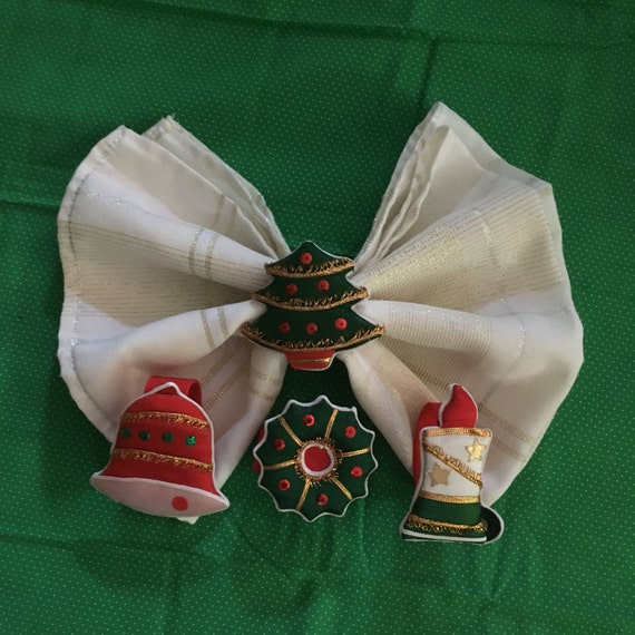 4 Vintage Christmas Table Napkin Rings Set Of Four Rings