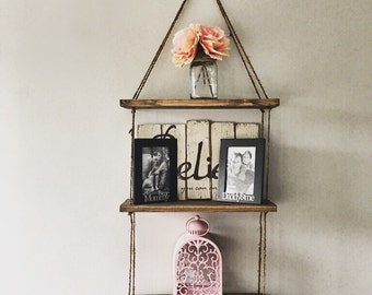 Hanging Shelves Rope, 3 Shelves, Rustic Wood Shelf, Floating Shelf