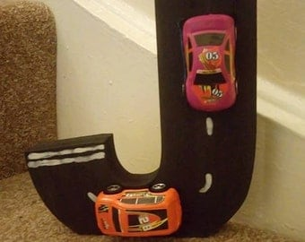 Decorative Wooden Free Standing Letter - Cars