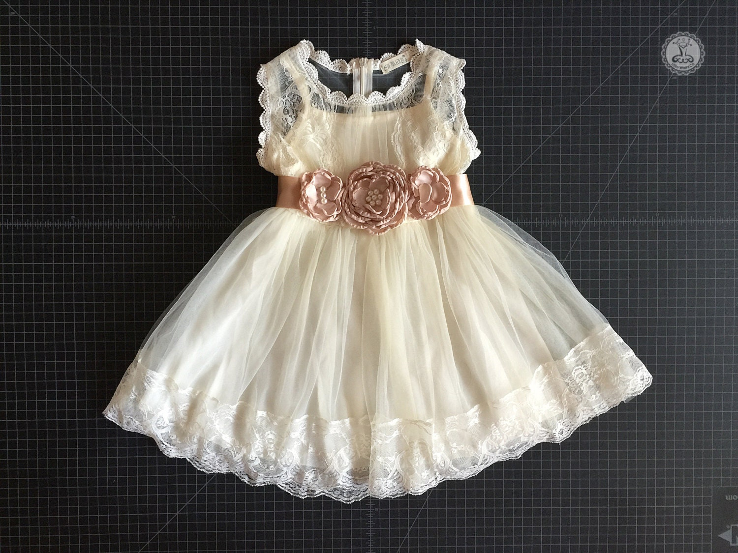 Cream flower Girls Tulle dress with Gold flower by LittleWorldCo
