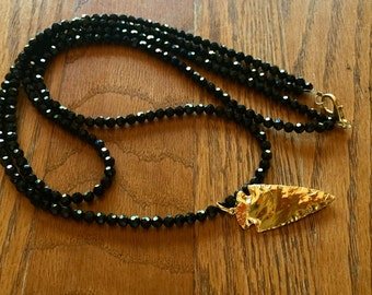 Black Crystal Gold Arrowhead Necklace