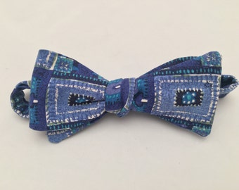 Blue upcycled Bow Tie