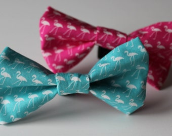 Flamingos Dog Bow Tie