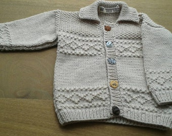 Beige jacket cardigan with collar to fit a boy aged 3-6 months