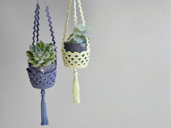 Items Similar To Succulent Hanger Set Of Two Crochet Plant