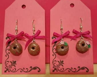 Chocolate donut earrings with bows
