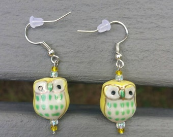 Yellow and Green Glass Owl Earrings
