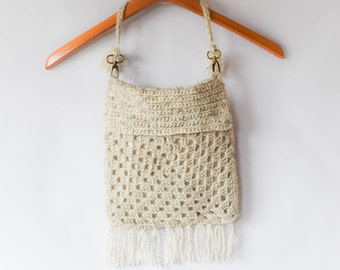 Boho Crochet Fringed Bag
