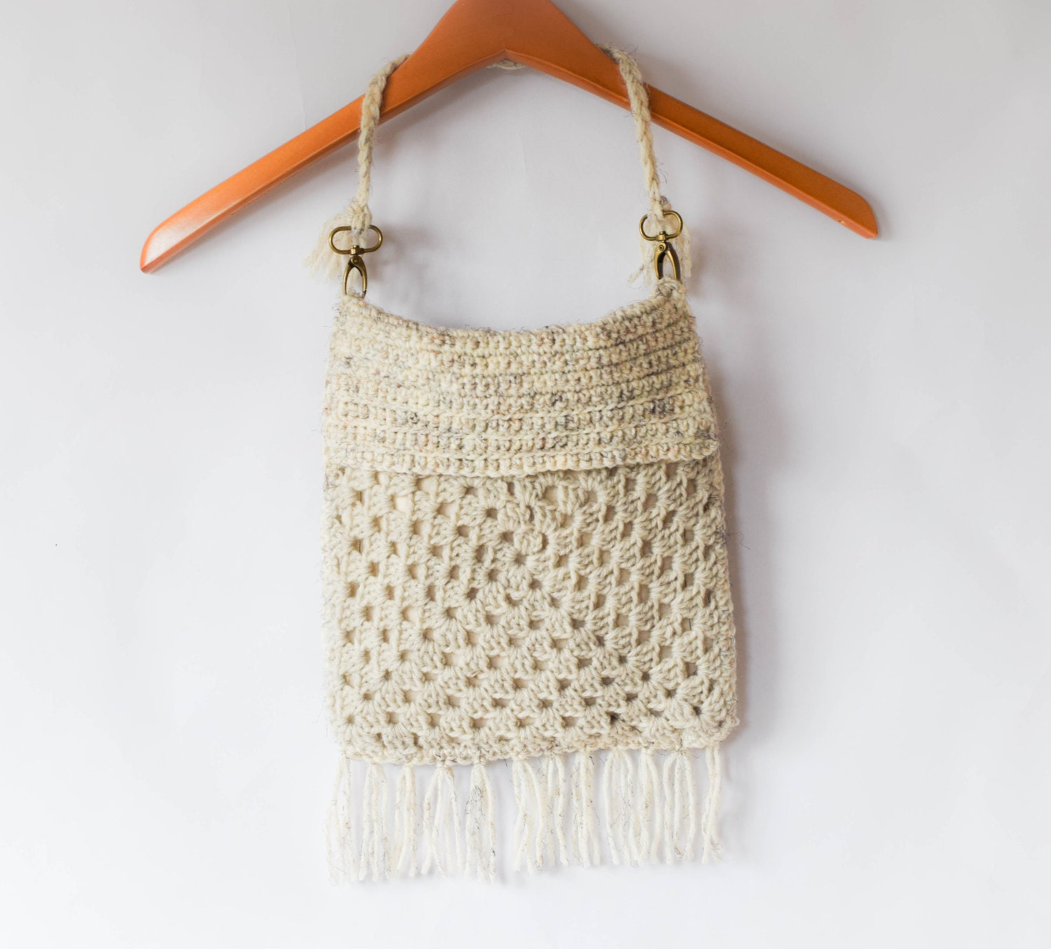 Crochet Fringe Bag : Boho Crochet Fringed Bag by MamaInAStitch on Etsy