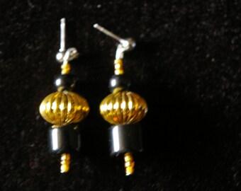 Golden and Black Beaded Earrings