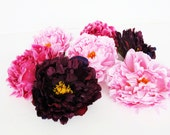 7 Peonies Blossoms Artificial Silk Flowers Blossom Bordeaux Pink Dark Pink Peony Flower Wedding Bouquets Decoration Decor Spring Summer Big