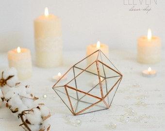 Glass geometric terrarium - Handmade Geometric Terrarium - Glass Icosahedron - Glass Planter- Home decor - Wedding table decor
