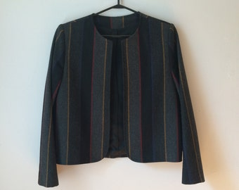 70s wool blazer, striped, herringbone, boxy, M, *vintage*