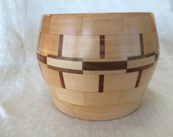 Segmented maple and walnut bowl