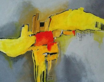 Yellow/grey abstract painting